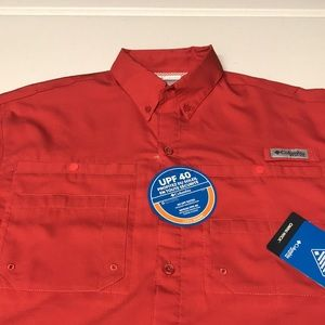 🆕 COLUMBIA PFG Men's Fishing Shirt CORAL RED